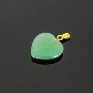 Pingente de Quartzo Verde em Formato de Coração com Pino Dourado
