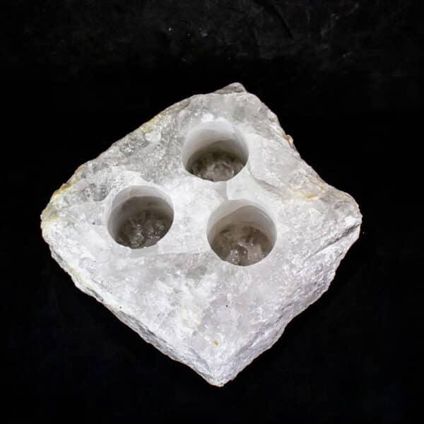 Porta Vela e Mini Vaso de Plantas de Cristal de Quartzo