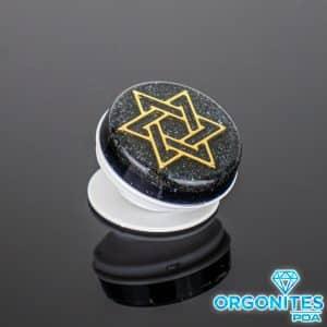 Pronta Entrega - Popsocket de Orgonite com Pingente Estrela de Davi Dourada