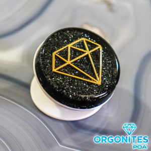 Pronta Entrega - Popsocket de Orgonite com Pingente Diamante Dourado