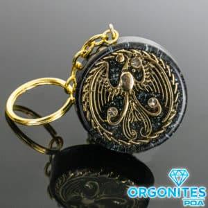 Chaveiro de Orgonite com Pingente de Fênix Dourado