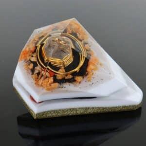 Pronta Entrega - Orgonite Diamante Extra Grande Dourado 14cm
