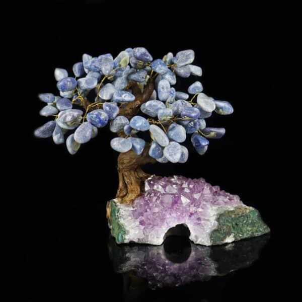 Árvore De Quartzo Azul com 36 galhos com Base de Ametista