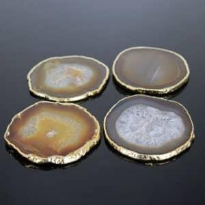 Porta Copos de Ágata Natural com Banho Dourado