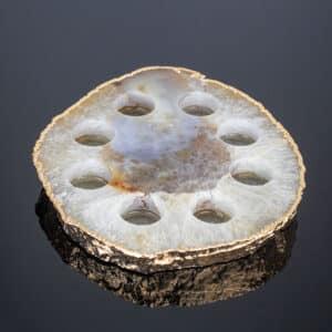 Expositor de Óleos Essenciais de Ágata Cristalizada com Banho Dourado