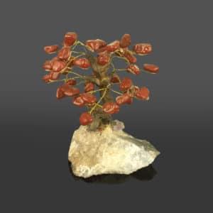 Árvore de Jaspe Vermelho com Base de Ametista 15 galhos